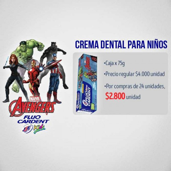 Caja x 24 Crema Fluocardent Niño Avengers Sin Flúor 50 cm3 JGB