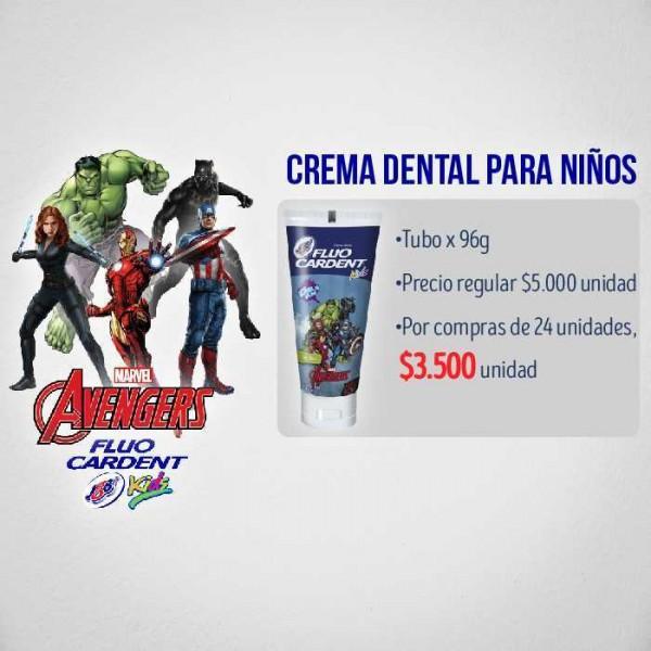 Caja x 24 Crema Fluocardent Niño Avengers Sin Flúor 75 cm3 JGB